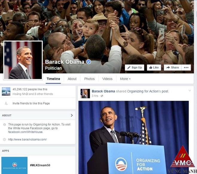 Tổng thống Mỹ Barack Obama ra mắt trang Facebook cá nhân